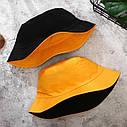 Панама Двухсторонняя Однотонная Оранжевая 2, Унисекс, фото 5