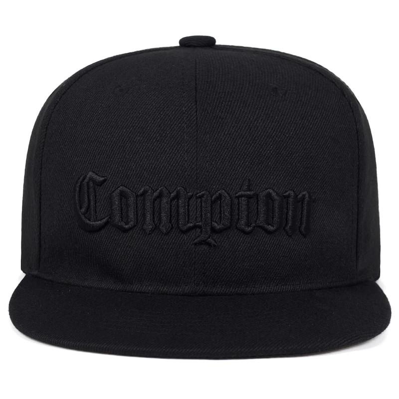 Кепка снепбек Compton 3 с прямым козырьком Черная, Унисекс