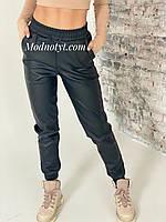 Черные кожаные штаны - джогеры