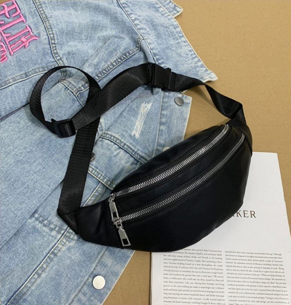 Женская сумка бананка 2, Черная