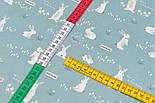 """Ткань сатин """"Маленькие зайчики на шалфейном фоне"""", №3265с, фото 4"""