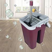 Комплект для уборки ведро и швабра с отжимом Scratch 8л Фиолетово-серый