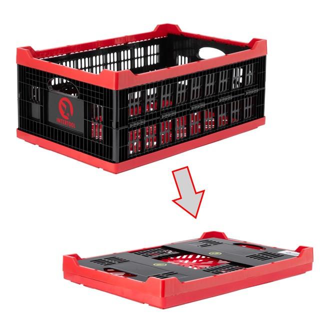 Ящик складной, пластиковый, загрузка 30 кг, 47 л., 600*400*260 мм, материал 100% первичный пищевой ПЭ