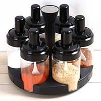 Подставка карусель с емкостями для специй Spice rotating bottles JM - 620 6 отсеков