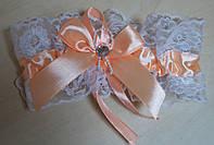 Свадебная подвязка Персиковая