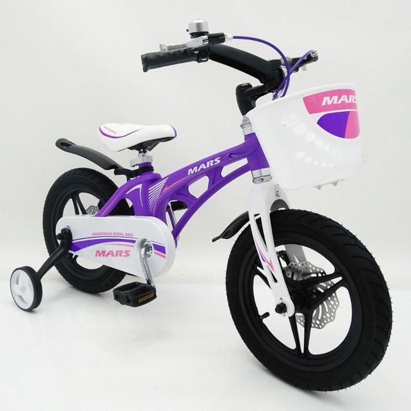 Детский двухколесный магнезиевый велосипед на 14 дюймов MARS-14 фиолетовый