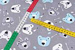 """Тканина сатин """"Ведмеді-індіанці та стріли"""" біло-блакитні на сірому фоні, №3264с, фото 5"""