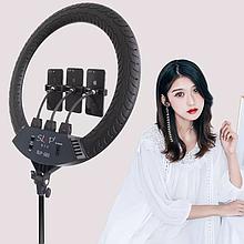 Професійна кільцева LED лампа SLP-G63 з 3 власниками, пультом, діаметр 55 см без штатива