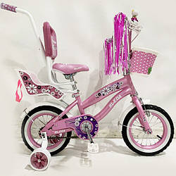 Детский двухколесный велосипед 12 дюймов для девочки Flower-RUEDA (Цветочек-Руеда) 03B фиолетовый