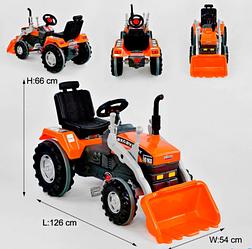 Детский педальный карт-веломобиль Экскаватор с педалями и ковшом Pilsan 07-297 оранжевый