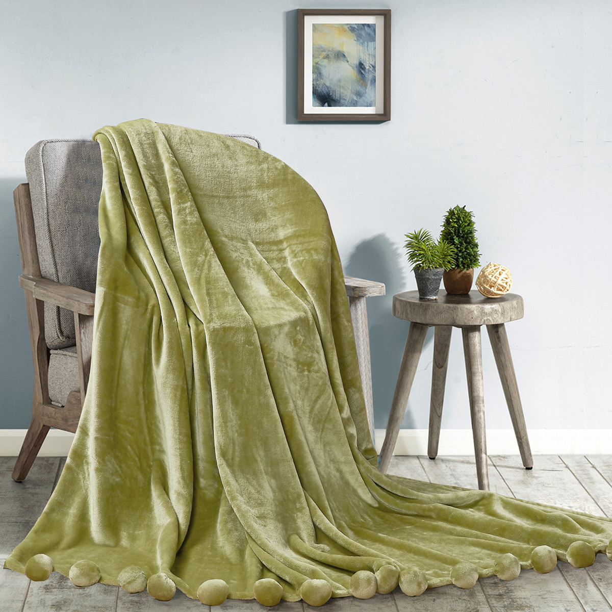 Меховой плед с помпонами зеленый Love You Помпон Зеленый 150x200 см