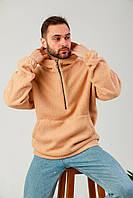 Худи оверсайз Тедди унисекс модель бежевого цвета. Стильный кенгуру Теди оверсайз мужское/женское бежевое.