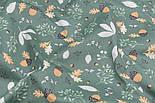 """Тканина сатин """"Коричневі жолуді"""" на зеленому, №3286с, фото 5"""