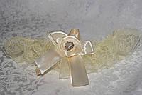 """Свадебная подвязка """"Шампань с розой"""", фото 1"""