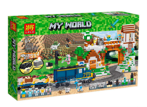 Конструктор Lele My World 33173 (8) 1080 дет., Железная дорога в коробке