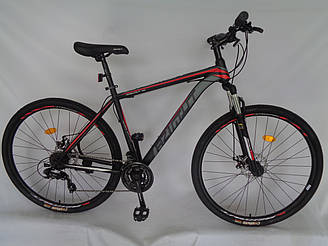 Спортивний гірський велосипед 29 дюймів Azimut 40D рама 20 чорно-червоно-сірий