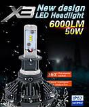 Світлодіодні LED лампи для фар автомобіля X3-H4, фото 5