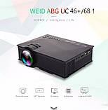Мультимедійний Wi-Fi проектор UNIC UC68 BK, домашній кінотеатр 1800 люмен,світлодіодний проектор з HD 1080p, фото 2