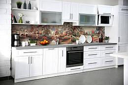 """Скинали на кухню Zatarga """"Домики"""" 600х3000 мм разные цвета виниловая 3Д наклейка кухонный фартук самоклеящаяся"""