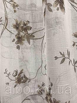 Касивый тюль из льна с цветочным принтом, высота 2.8 м (821-03)