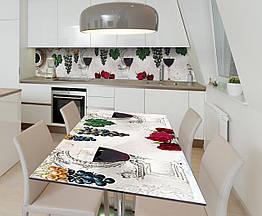 Наклейка 3Д виниловая на стол Zatarga «Красное вино» 600х1200 мм для домов, квартир, столов, кофейн,