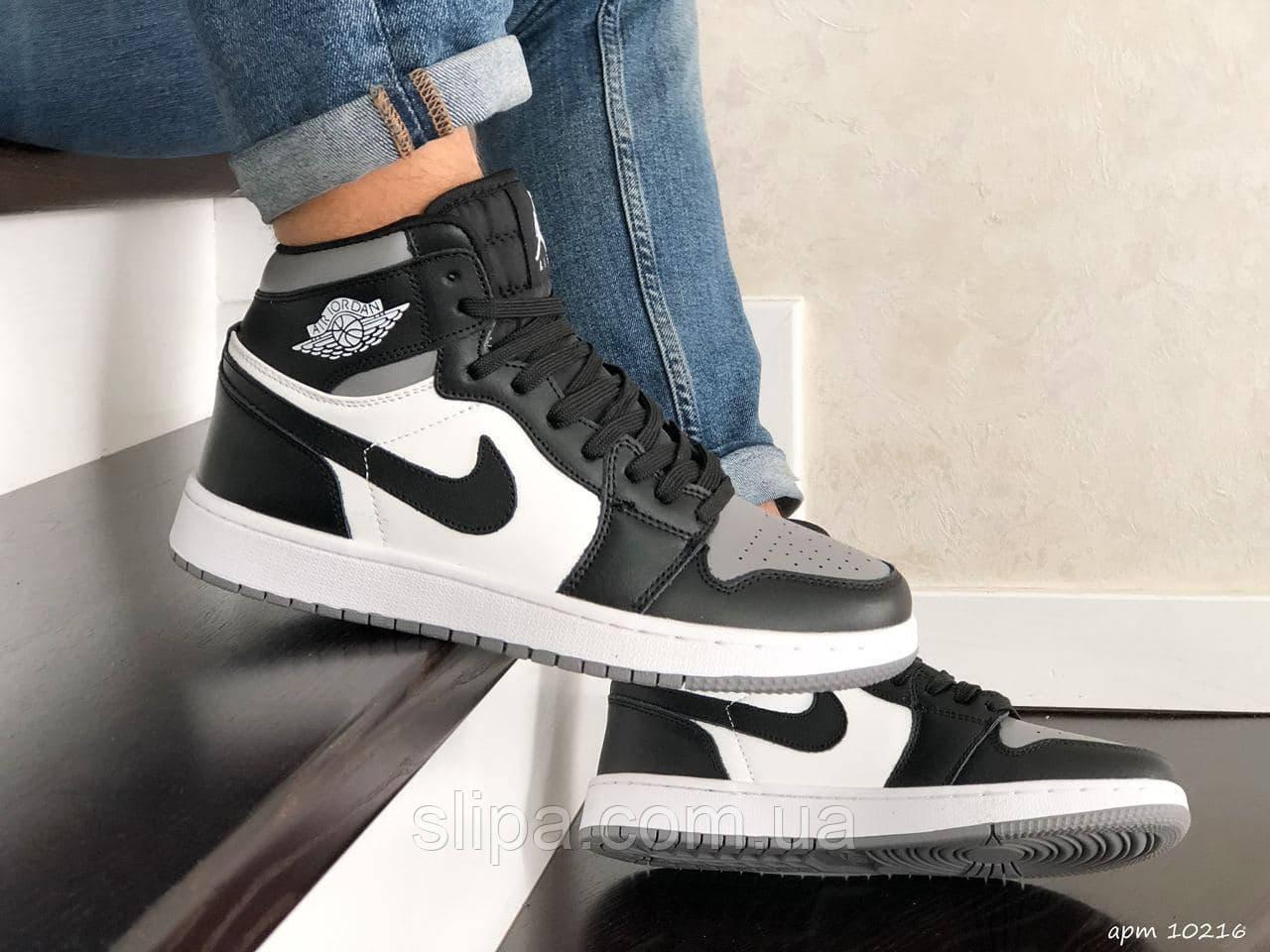 Мужские кожаные кроссовки в стиле Nike Air Jordan чёрные с белым и серым