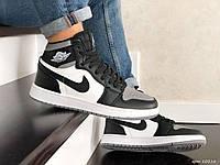 Мужские кожаные кроссовки в стиле Nike Air Jordan чёрные с белым и серым, фото 1