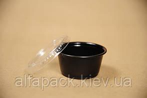 Соусник черный с прозрачной крышкой (59ml) PP, упаковка 100 шт, (1,8 грн/шт)