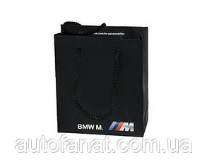 Бумажный подарочный пакет BMW M (маленький) оригинальный черный (81852208349)