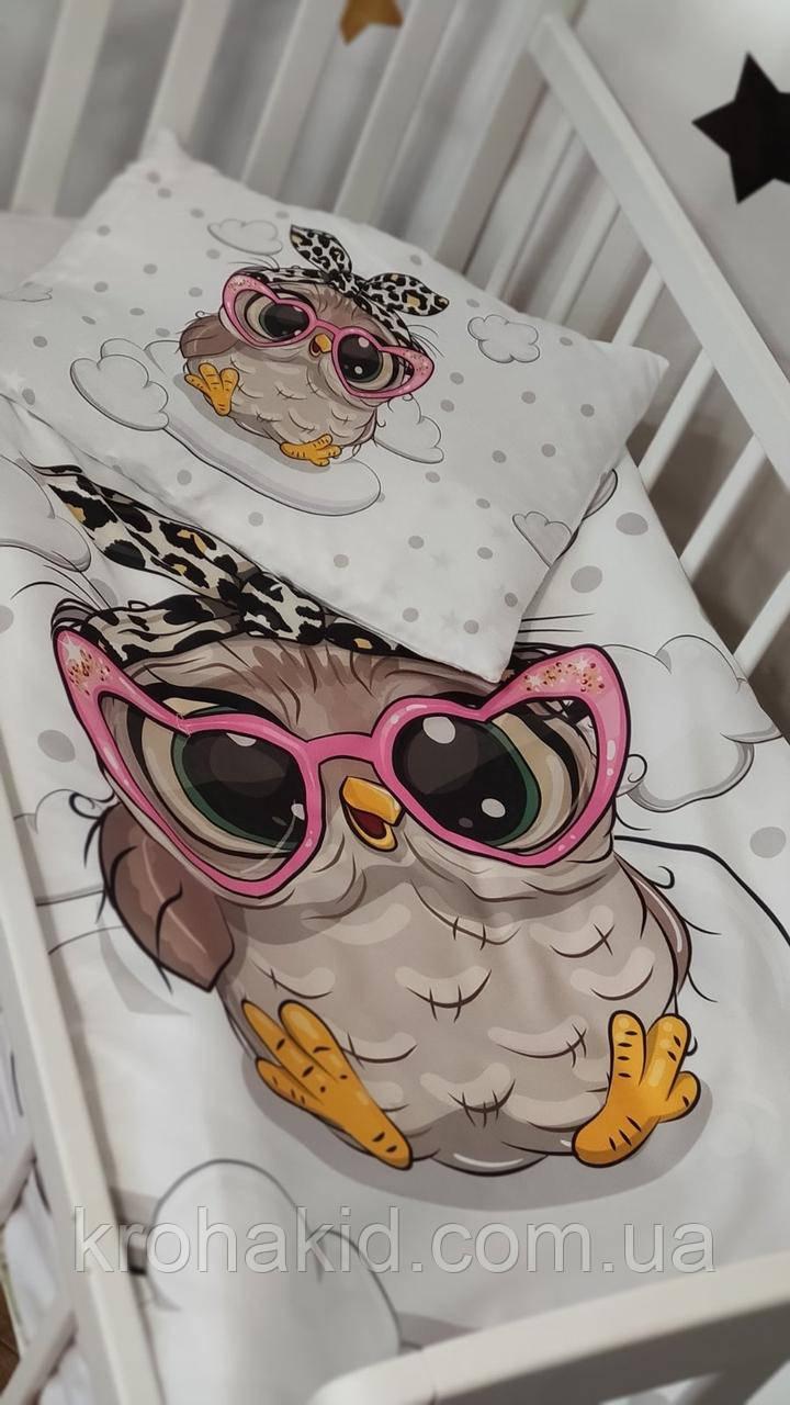 Дитяче постільна змінна білизна в ліжечко / в манеж Qvatro Gold 3в1: наволочка, підодіяльник, простирадло