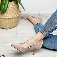 Бежевые туфли на каблуке 8см, фото 1
