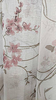 Тюль из льна с цветочным принтом, висота 2.8 м (821-07)