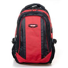 Рюкзак школьный подростковый для мальчика с USB переходником городской красный Power In Eavas 9063
