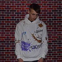 Мужская кофта с капюшоном Stussy худи белая с ярким рисунком