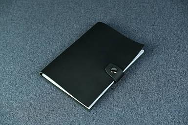 Блокнот в шкіряній обкладинці формату А5, шкіра Grand, колір Чорний