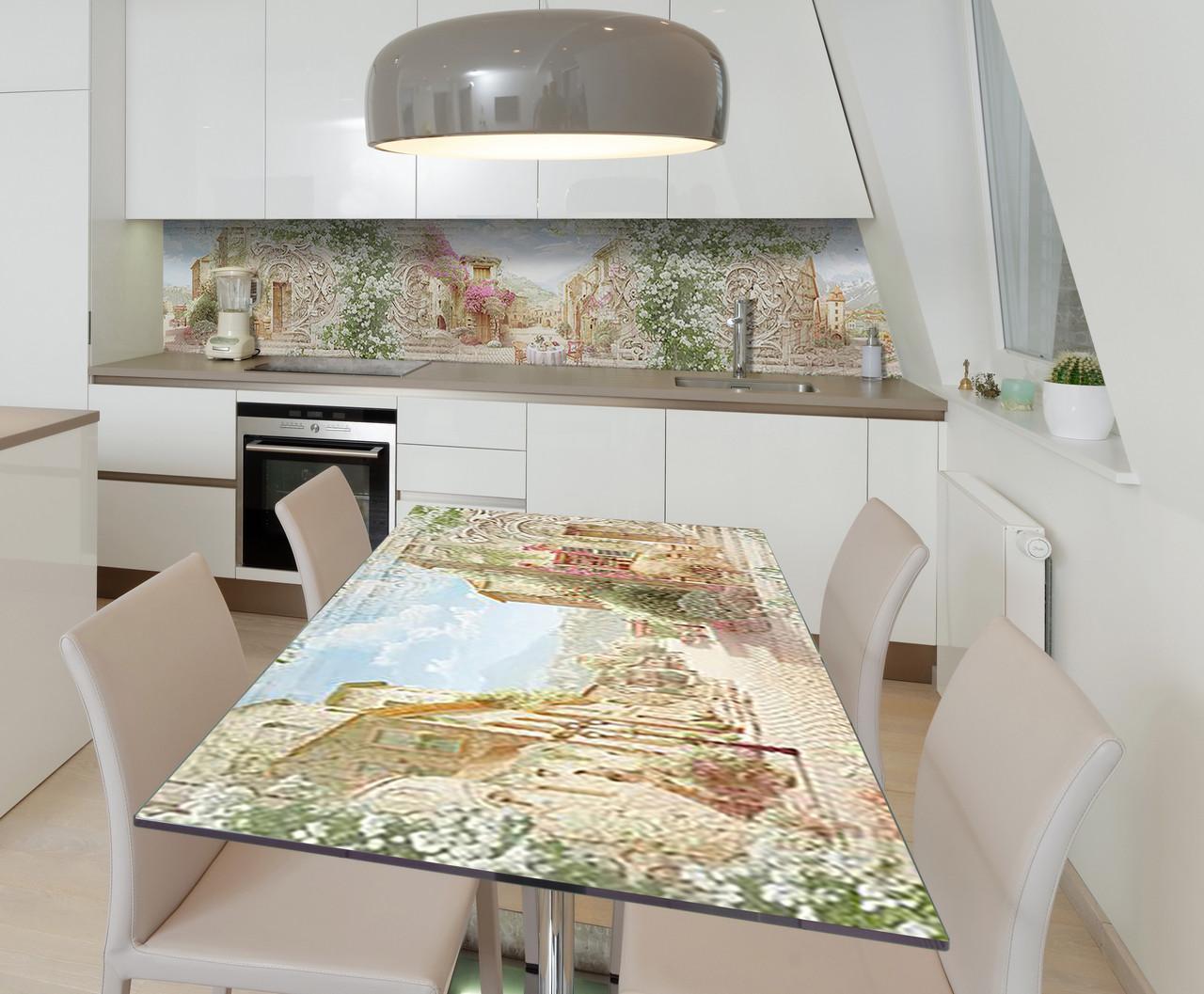 Наклейка 3Д виниловая на стол Zatarga «В сердце Европы» 600х1200 мм для домов, квартир, столов, кофейн, кафе