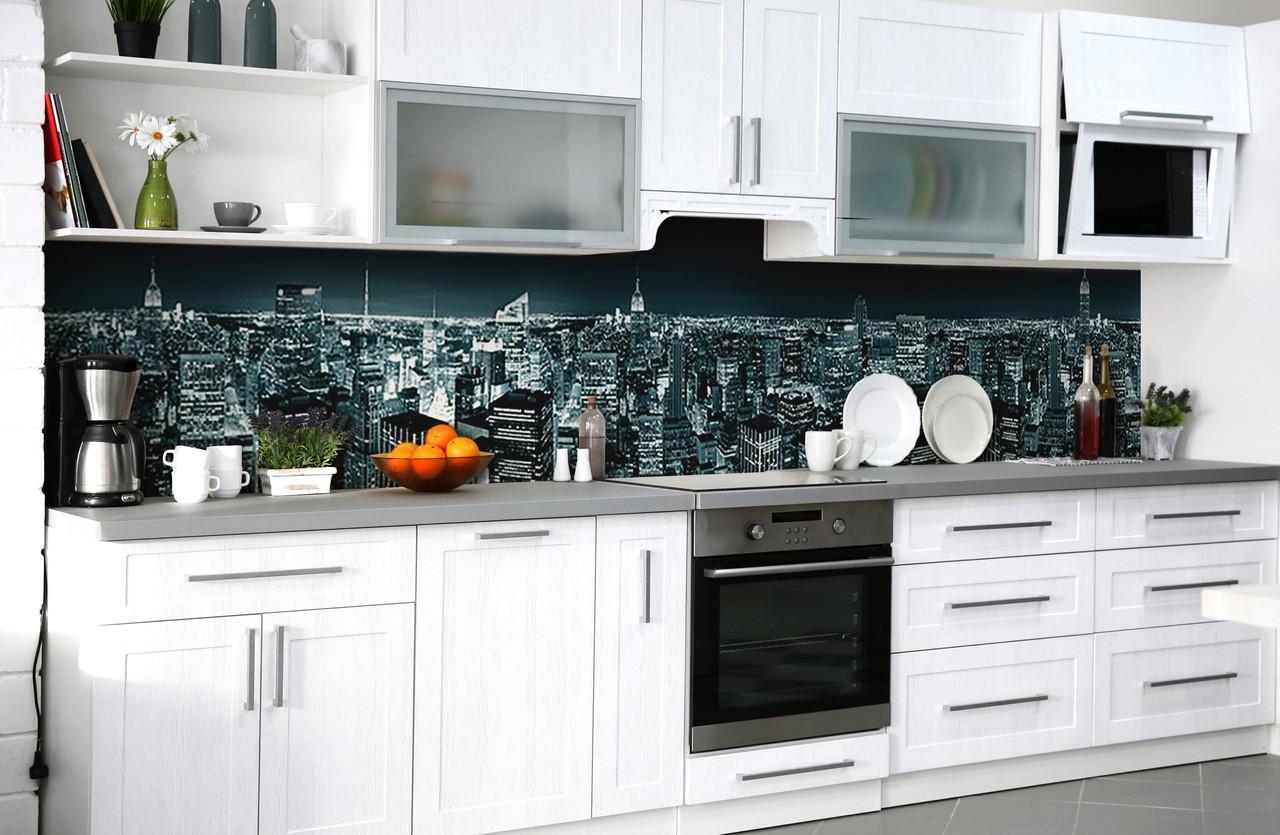 """Скинали на кухню Zatarga """"Синева ночного города"""" 600х3000 мм виниловая 3Д наклейка кухонный фартук"""