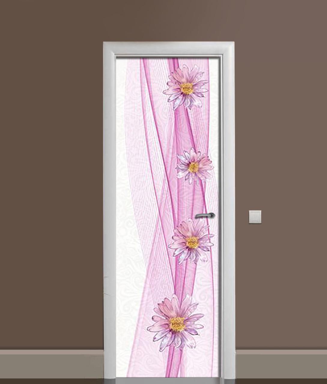 Наклейка на дверь Zatarga «Цветочный танец» 650х2000 мм виниловая 3Д наклейка декор самоклеящаяся