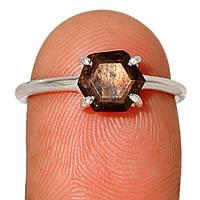 Серебряное кольцо с сапфиром черным золотым, 1629КС