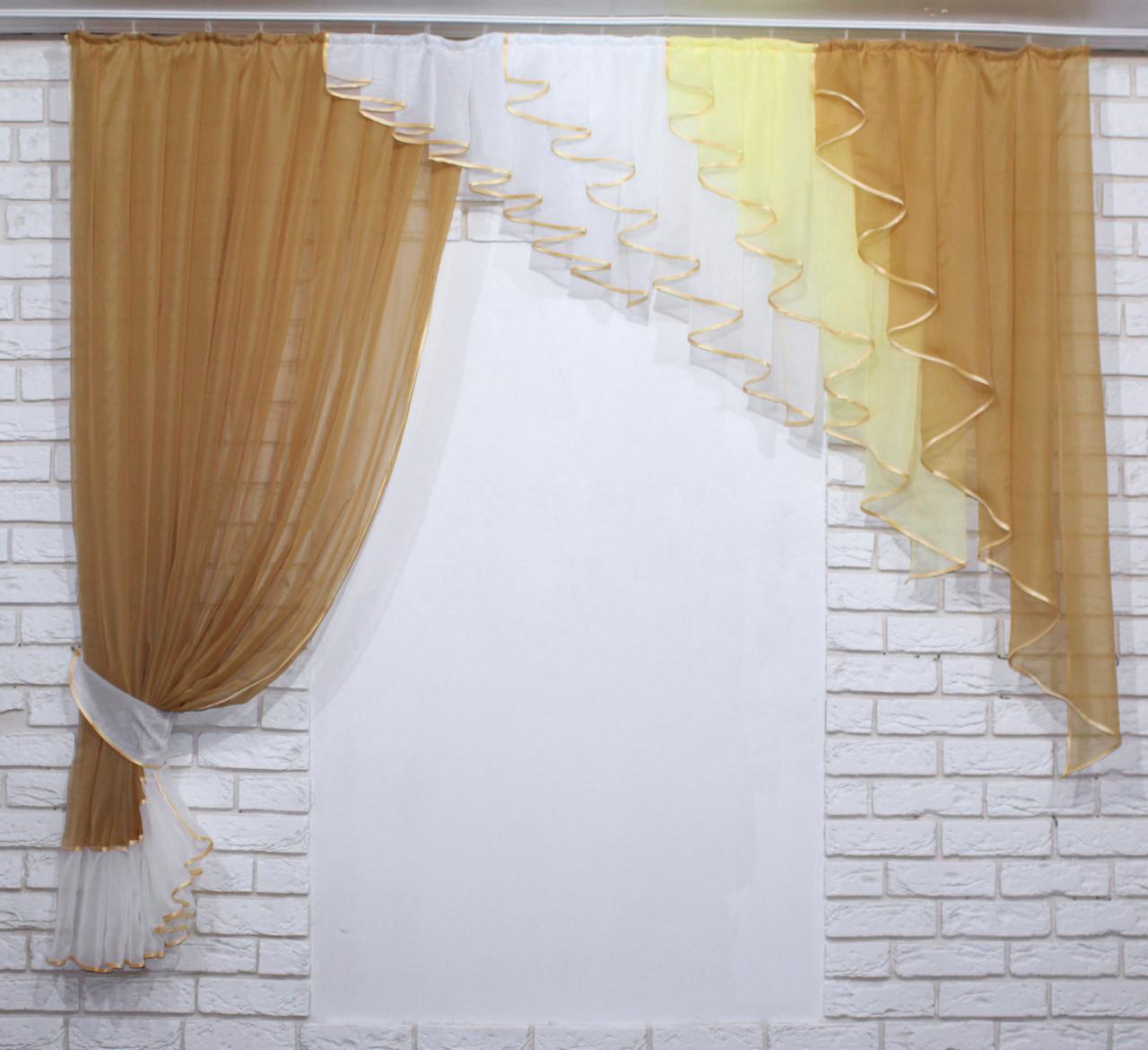 Кухонний комплект (200х170см.), ламбрекен і штора. Колір кофейний. 070к 50-362