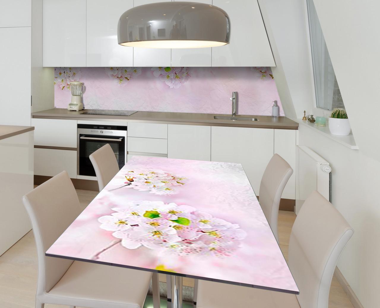 Наклейка 3Д виниловая на стол Zatarga «Сереневая улыбка» 650х1200 мм для домов, квартир, столов, кофейн, кафе
