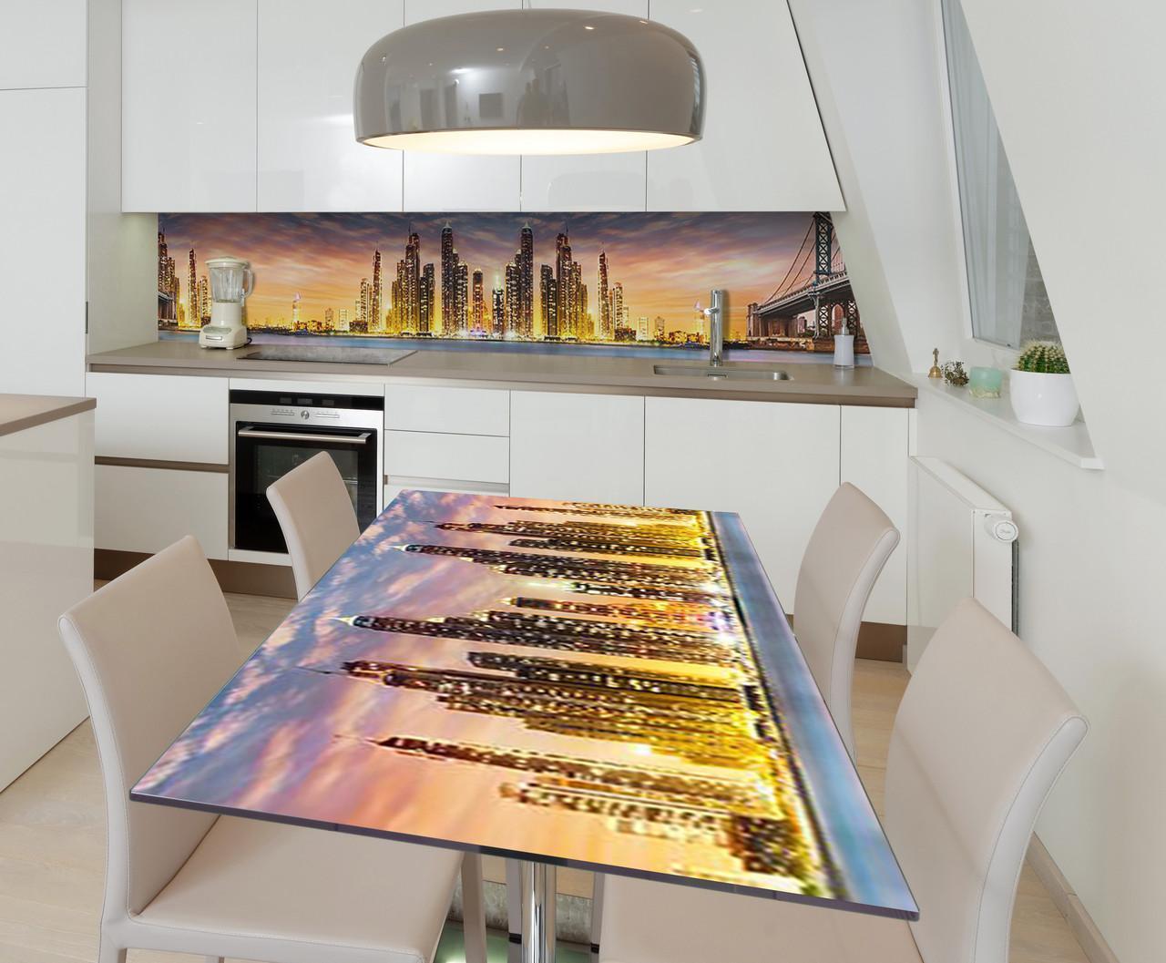 Наклейка 3Д виниловая на стол Zatarga «Сан-Франциско в огнях» 600х1200 мм для домов, квартир, столов, кофейн,