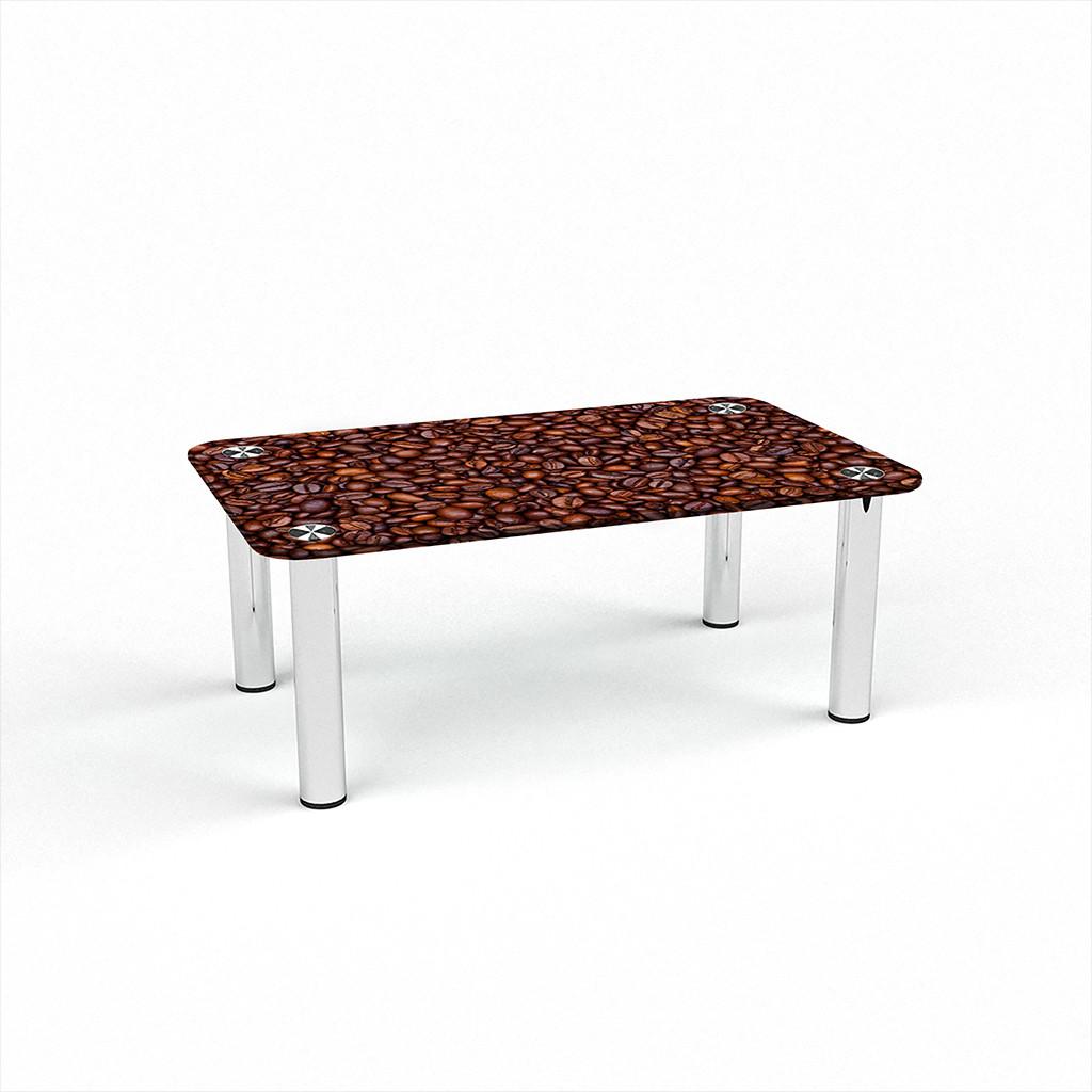 Стеклянный  стол журнальный столик из стекла БЦ Стол Прямоугольный с фотопечатью Coffee aroma