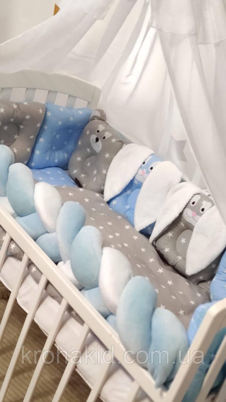 """Набір постільної білизни дитяче ліжечко/ манеж """"Коса"""" - Бортики в ліжечко / захист в дитяче ліжечко"""