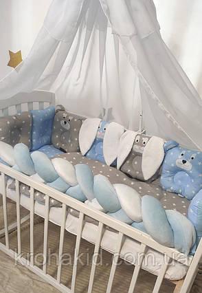 """Набір постільної білизни дитяче ліжечко/ манеж """"Коса"""" - Бортики в ліжечко / захист в дитяче ліжечко, фото 2"""