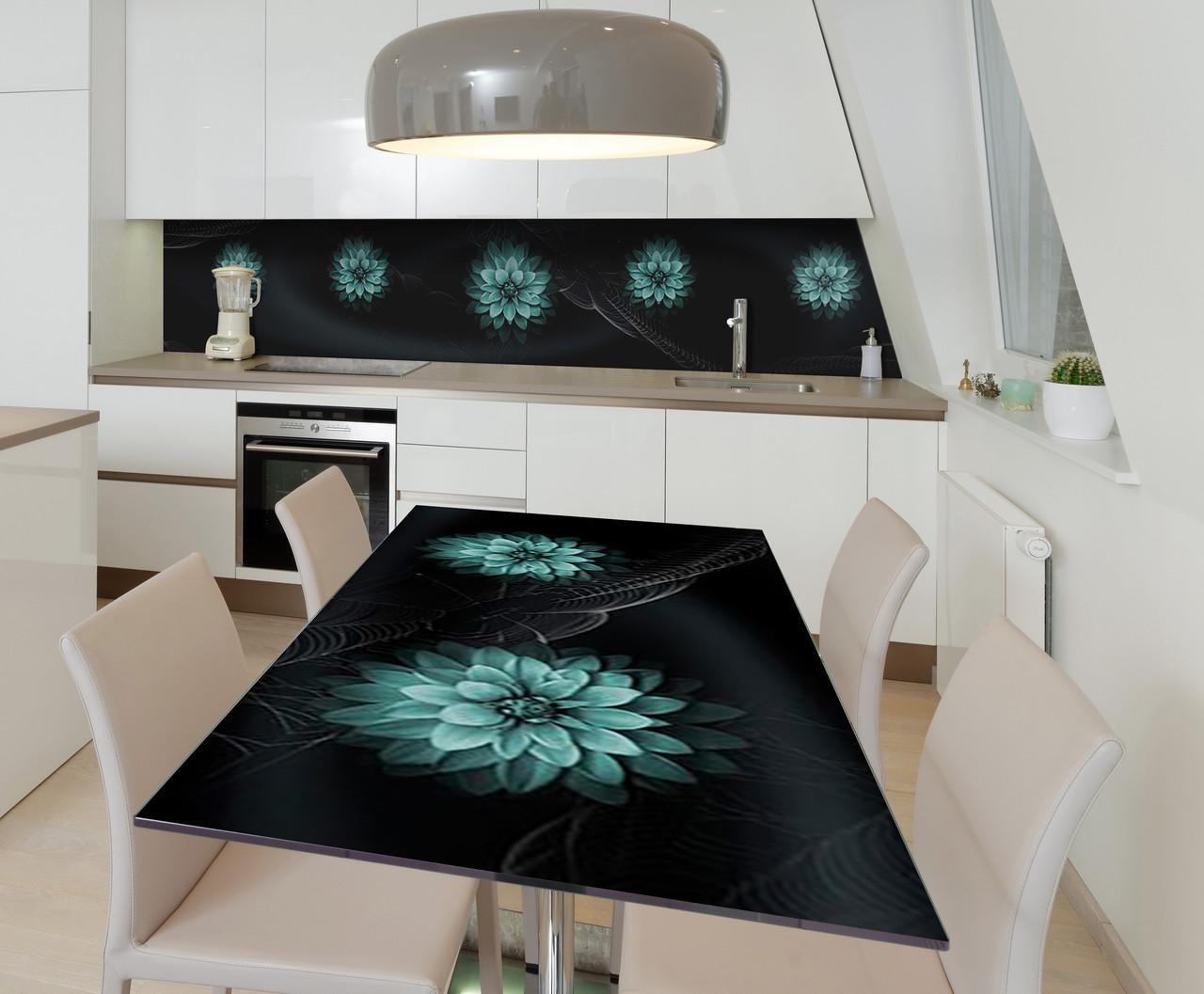 Наклейка 3Д виниловая на стол Zatarga «Георгины в паутине» 600х1200 мм для домов, квартир, столов, кофейн,