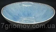 Набір 6 керамічних салатників блакитно-фіолетових Волошка 19.5 см