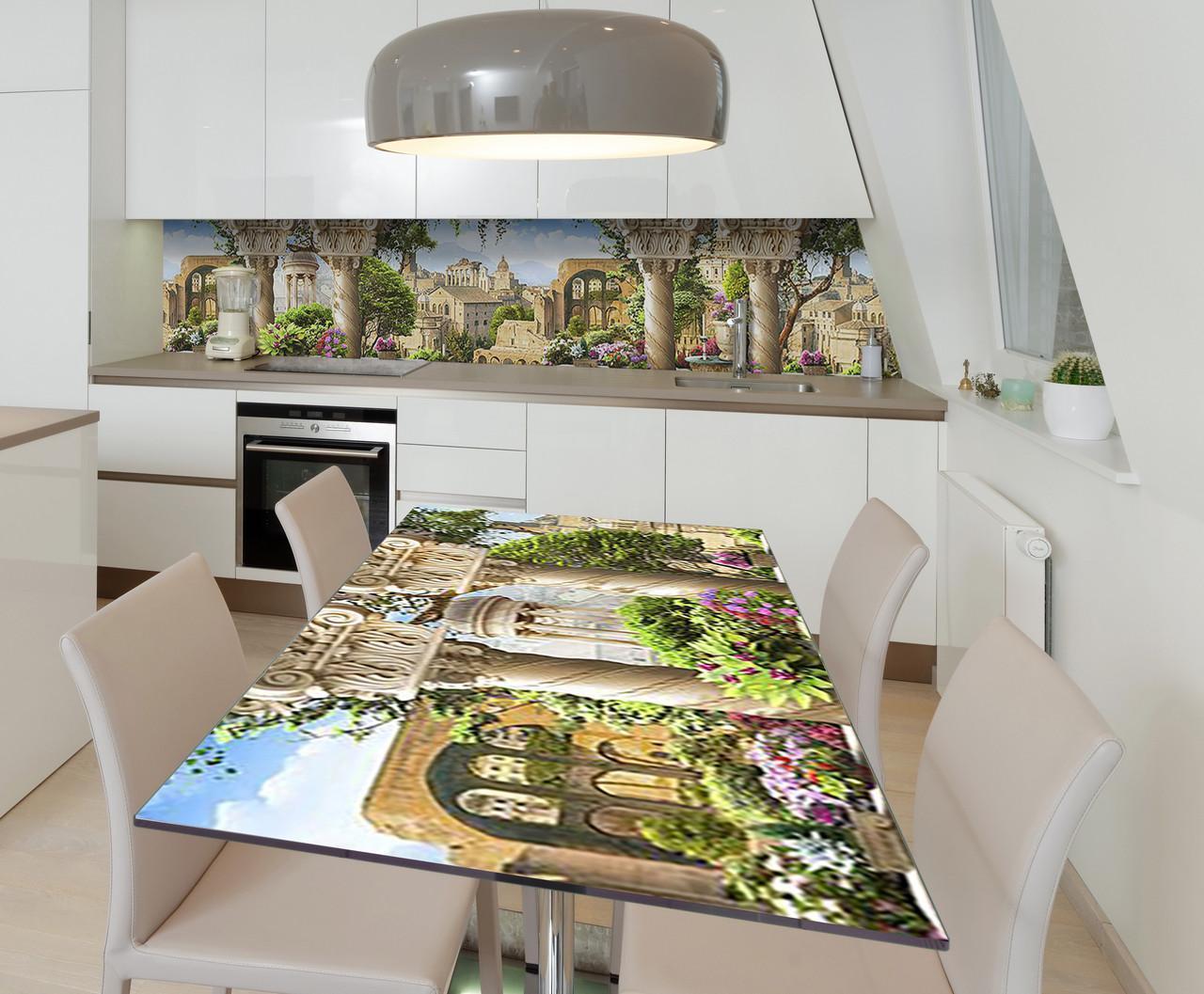 Наклейка 3Д виниловая на стол Zatarga «Античный покой» 650х1200 мм для домов, квартир, столов, кофейн, кафе