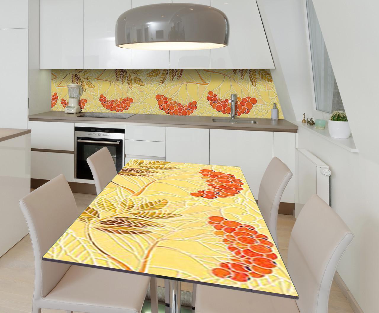 Наклейка 3Д виниловая на стол Zatarga «Пламя рябин» 650х1200 мм для домов, квартир, столов, кофейн, кафе
