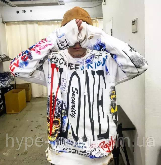Чоловіча кофта з капюшоном Vlone худі біла з яскравим дизайном